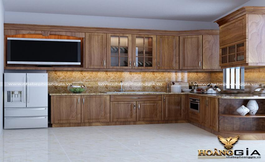 tủ bếp gỗ lát