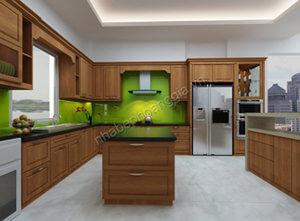 tủ bếp đẹp gỗ tự nhiên 03