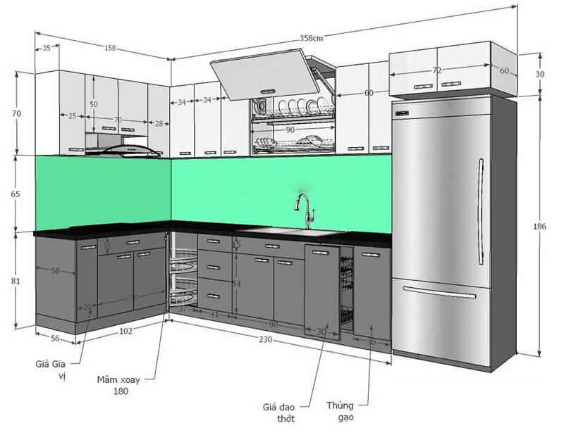 kích thước tiêu chuẩn của tủ bếp