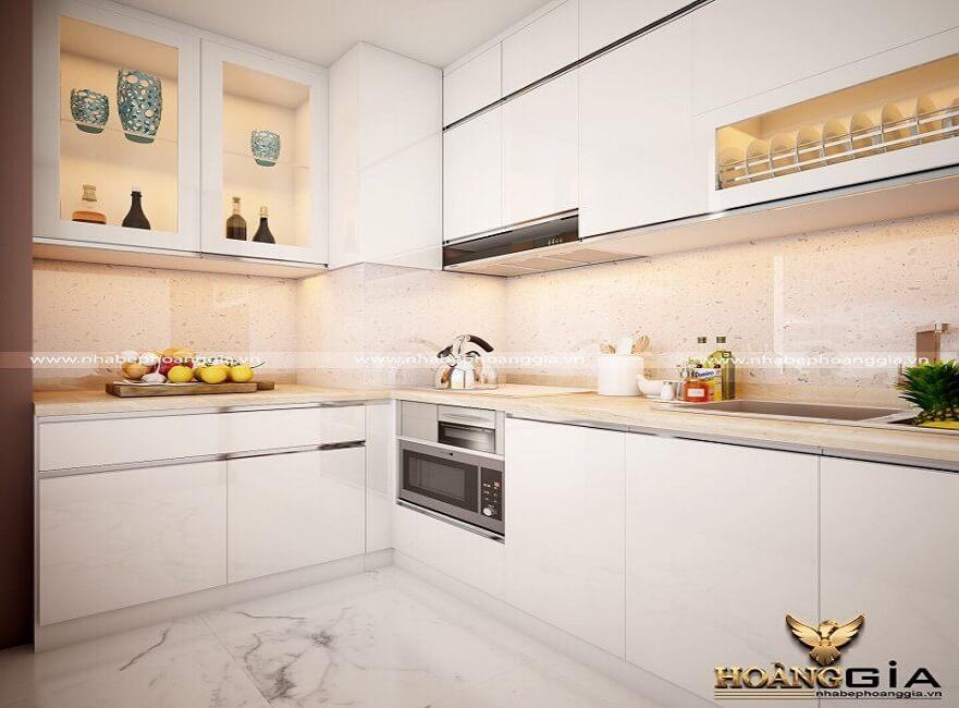 mẫu tủ bếp chữ L đẹp 2019