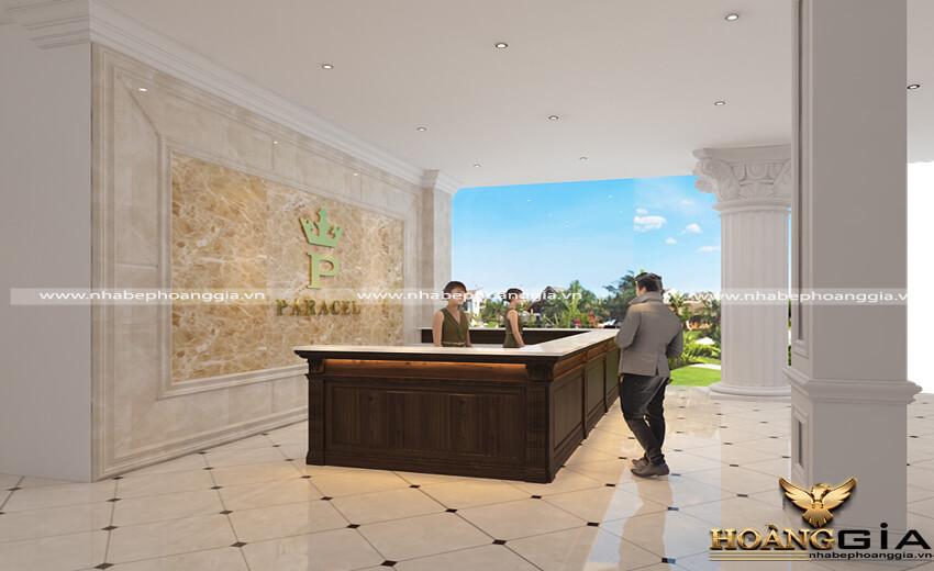 mẫu thiết kế khách sạn 01 cho khách sạn bãi biển Hải Tiến với thiết kế theo phong cách cổ điển đầy xa hoa và đẳng cấp mà không quá rườm rà đã mang đến một không gian đầy cuốn hút và ấn tượng.