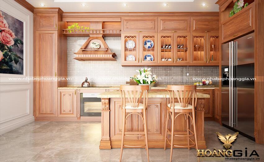 tủ bếp gỗ gõ tự nhiên