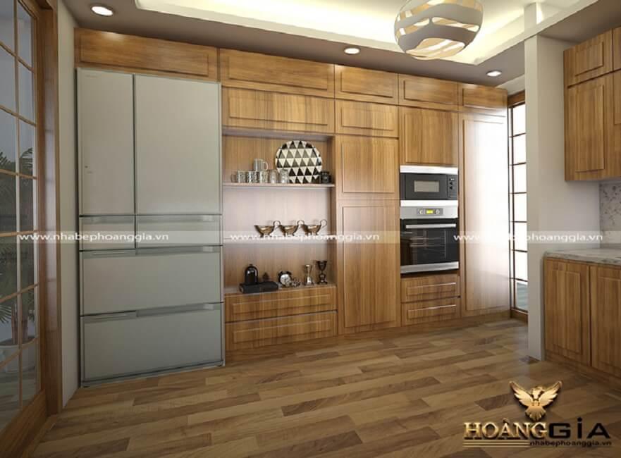 tủ bếp hiện đại gỗ sồi Mỹ