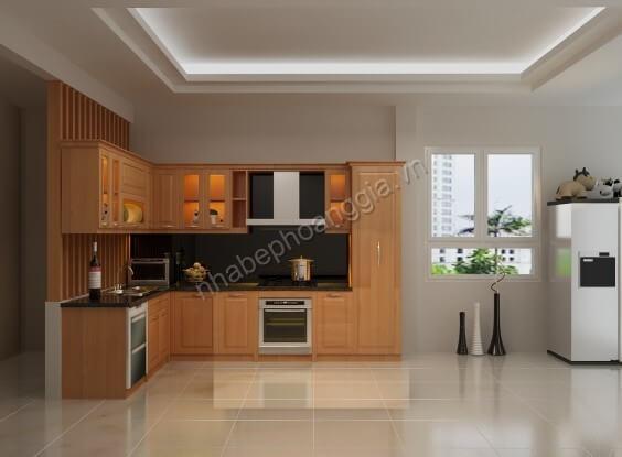 tủ bếp hiện đại gỗ tự nhiên