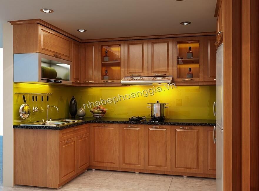 tủ bếp đẹp chất liệu gỗ tự nhiên