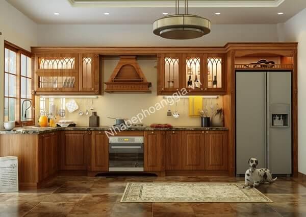 tủ bếp tân cổ gỗ tự nhiên