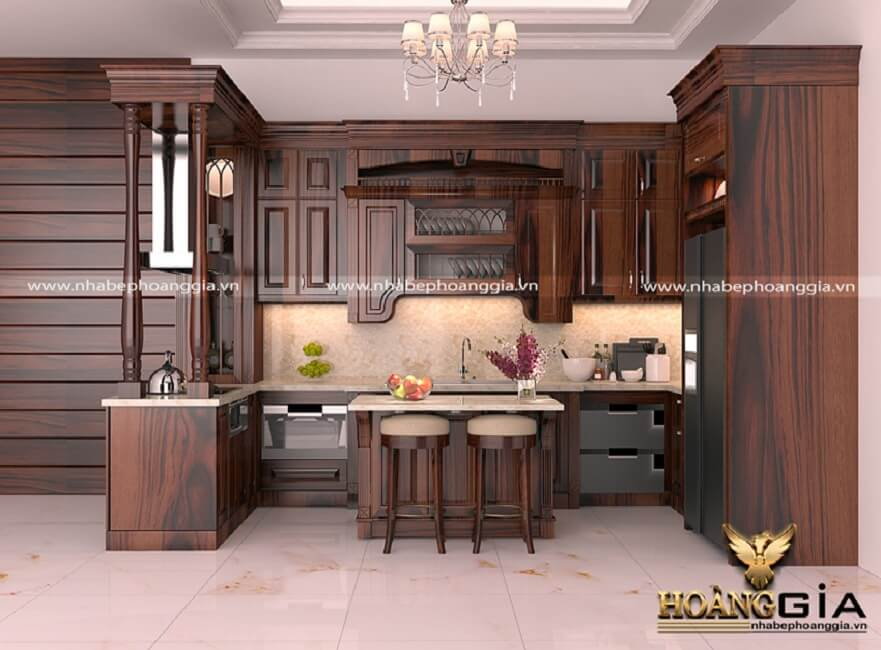 tủ bếp gỗ cẩm tự nhiên