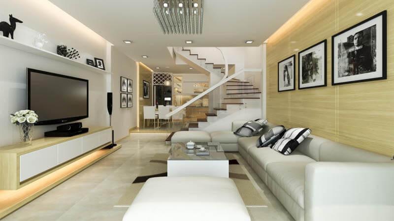 phòng khách đẹp có cầu thang