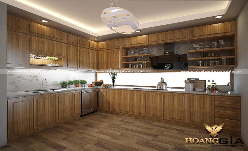 tủ bếp gỗ sồi Nga hay sồi Mỹ