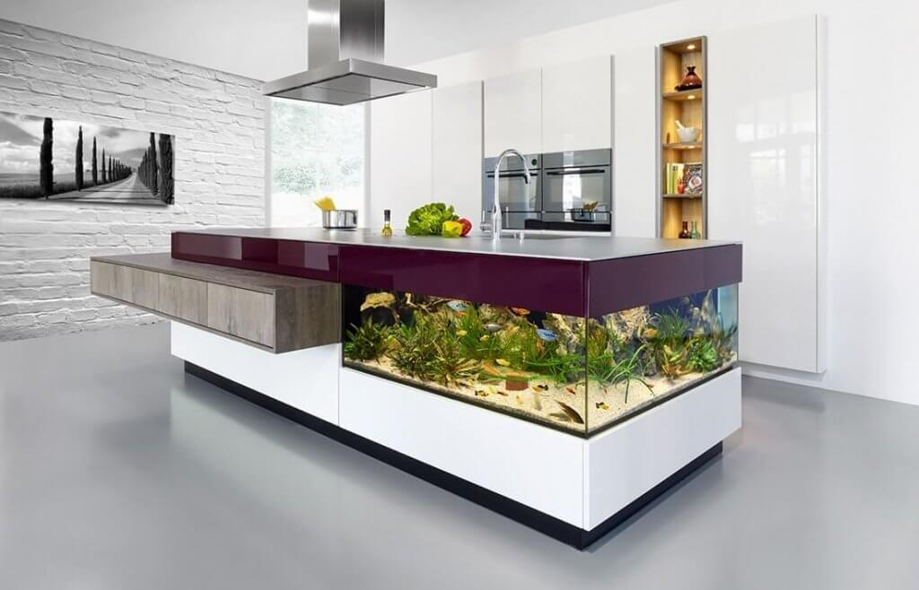 bể cá đối diện bếp