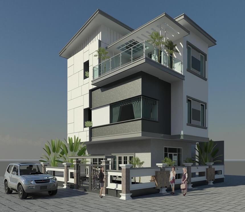 mẫu biệt thự 3 tầng hiện đại