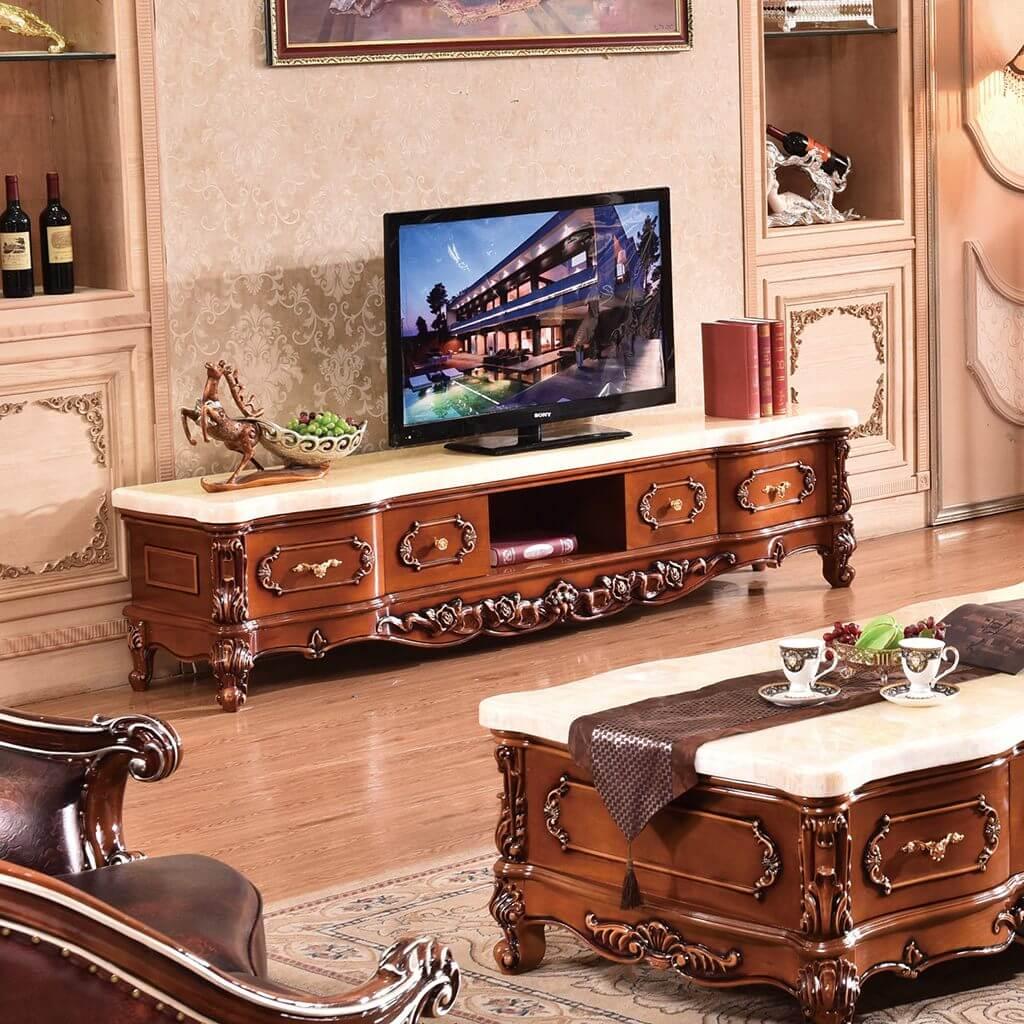 kệ tivi phòng khách tân cổ điển