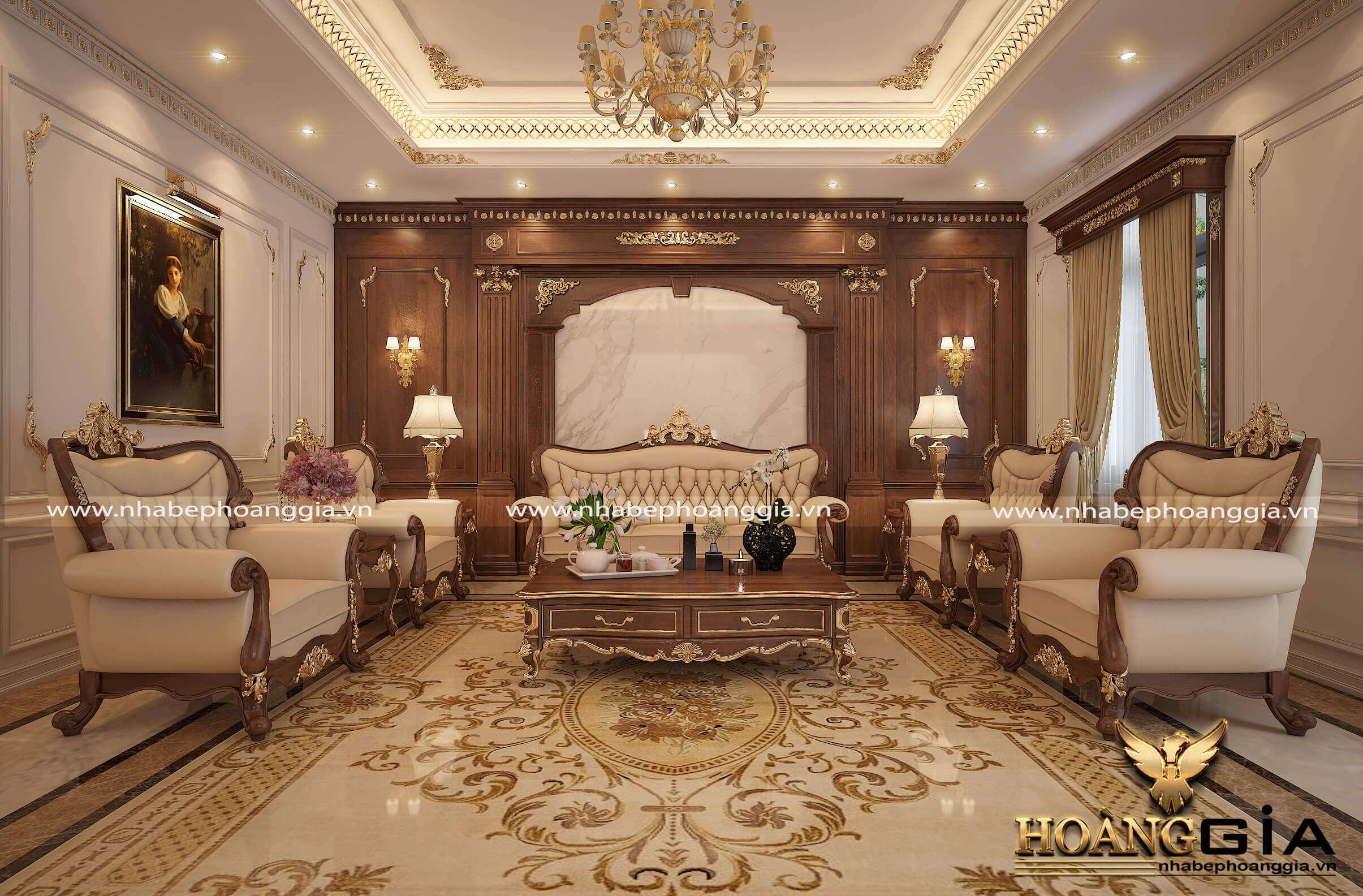 phòng khách đẹp cho biệt thự lâu đài