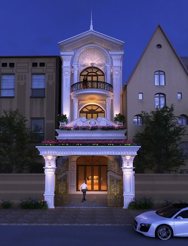 mẫu thiết kế nhà phố tân cổ điển đẹp