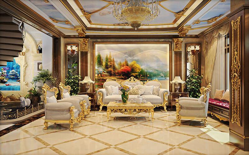 trần thạch cao phòng khách tân cổ điển