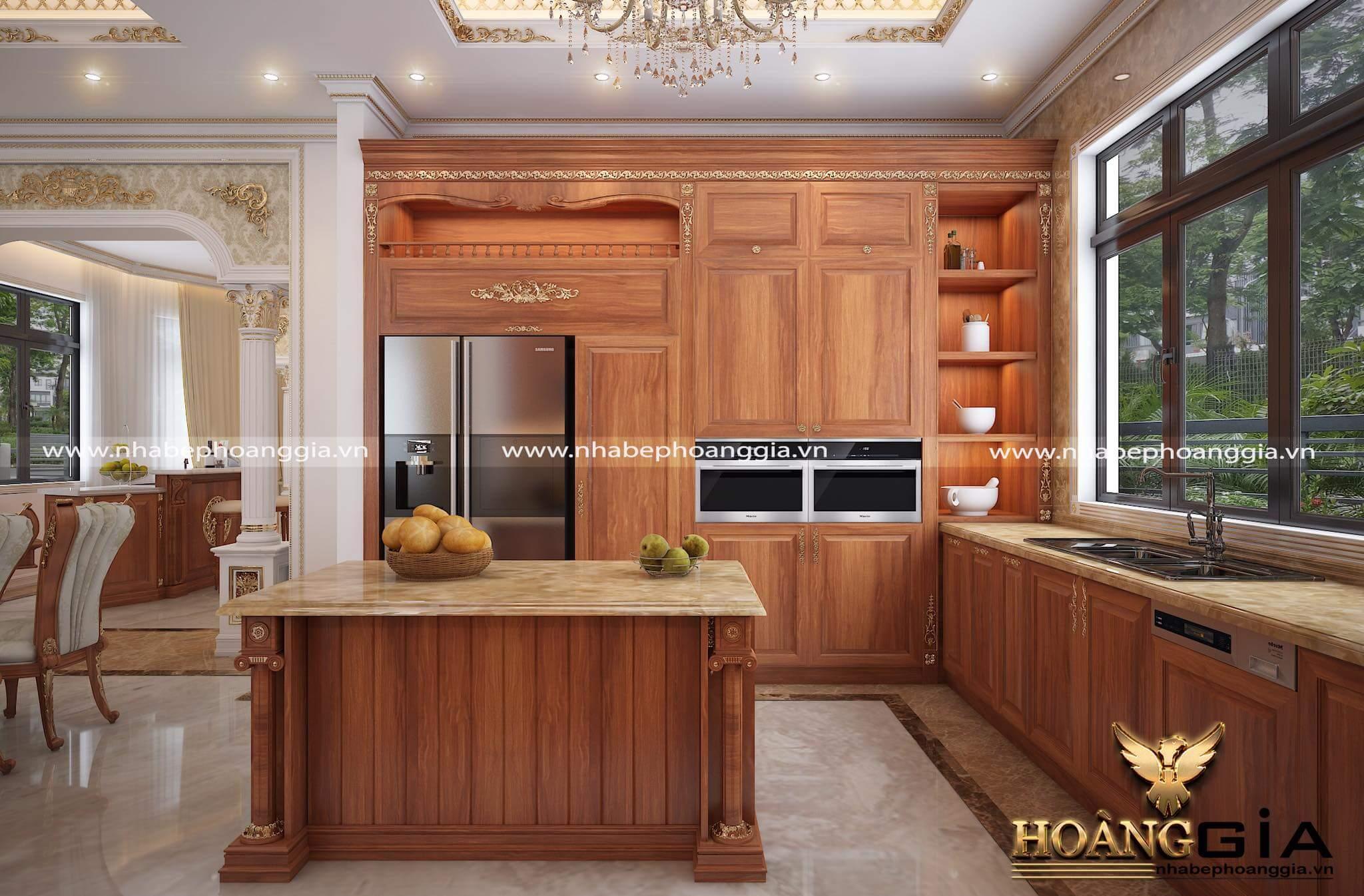 mẫu tủ bếp dát vàng