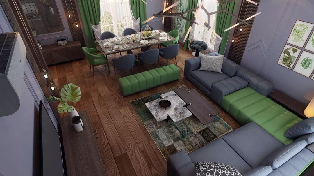 phòng khách kết hợp phòng ăn