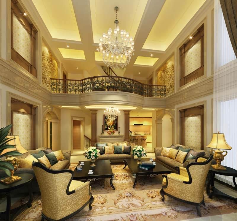 kinh nghiệm thiết kế phòng khách biệt thự tân cổ điển