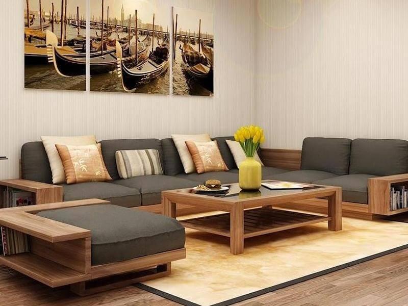 mẫu sofa gỗ phòng khách đẹp 2019