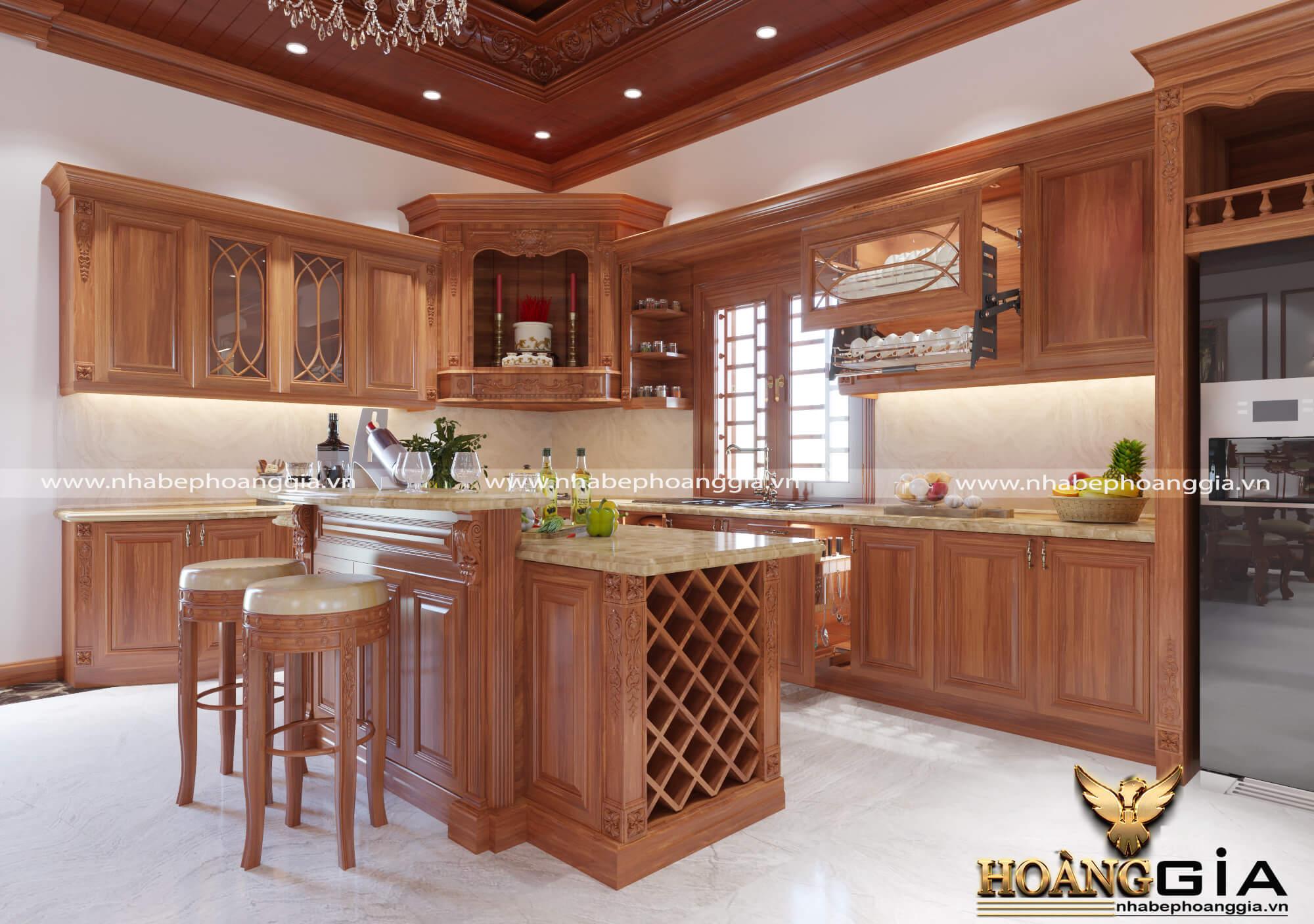 tủ bếp gỗ gõ