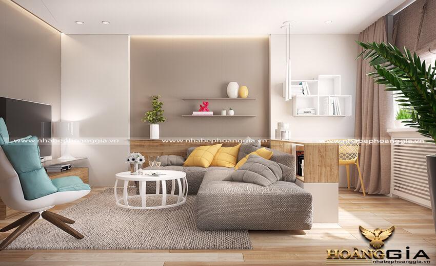 Bố cục sắp xếp nội thất phòng khách chung cư ấn tượng