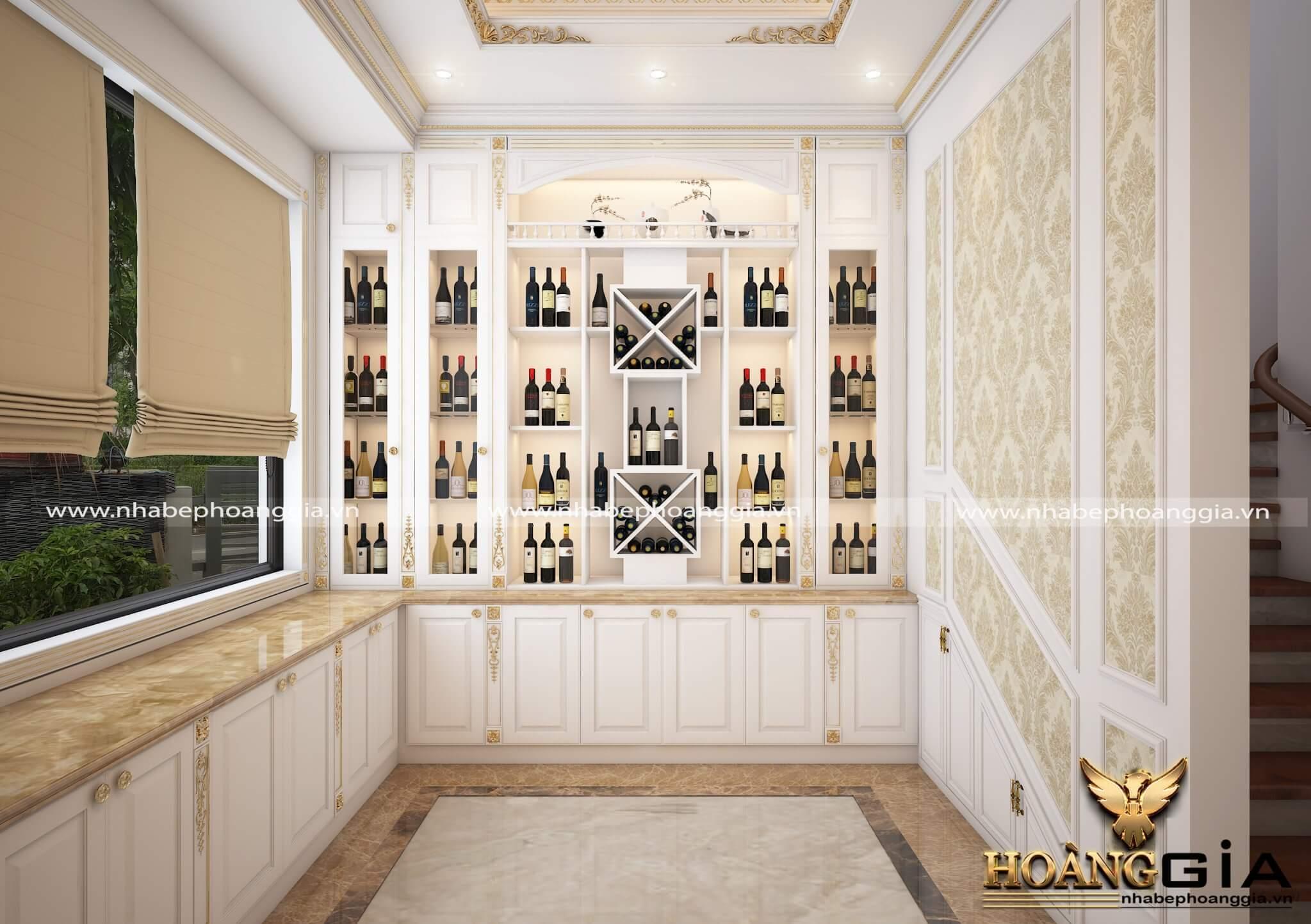 mẫu tủ rượu âm tường bằng gỗ