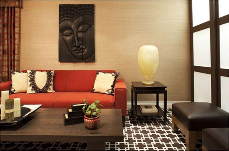 thiết kế phòng khách thiết kế Á Đông