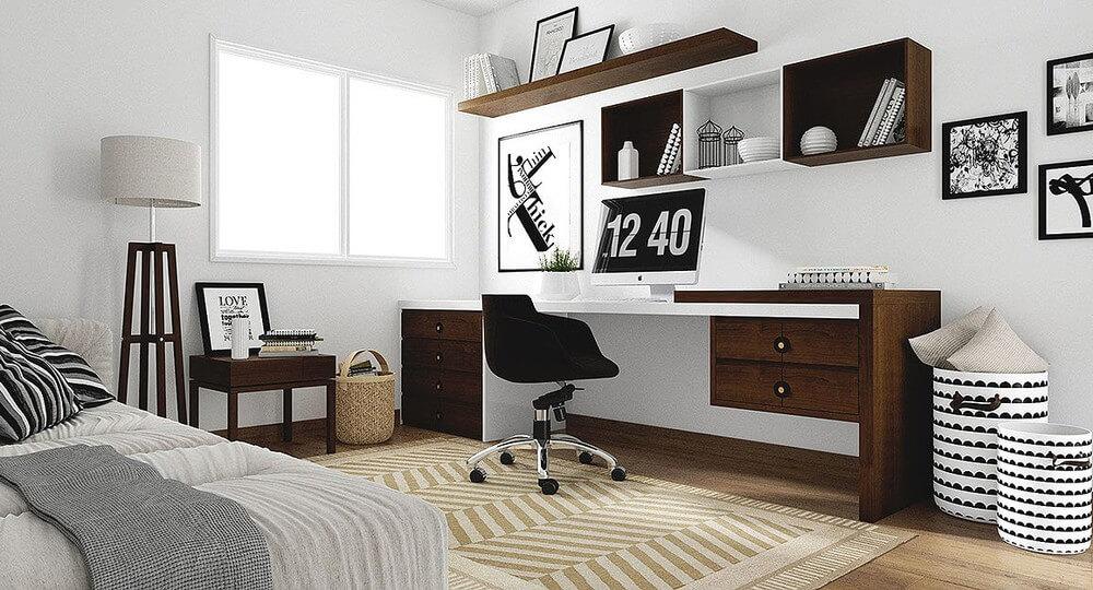 thiết kế phòng làm việc kết hợp phòng ngủ