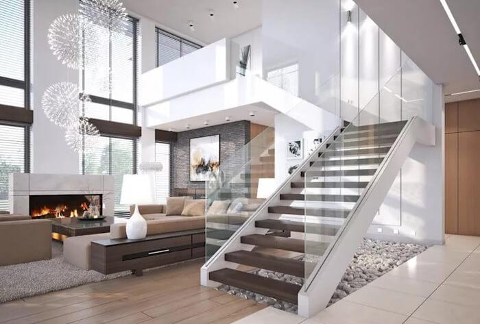 trang trí gầm cầu thang phòng khách