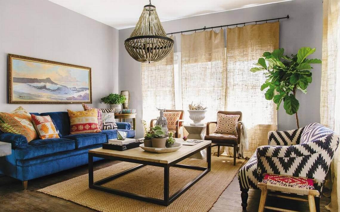 trang trí nội thất phòng khách Bohemian