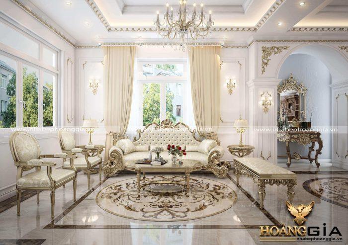 trang trí phòng khách tân cổ điển bằng phào chỉ