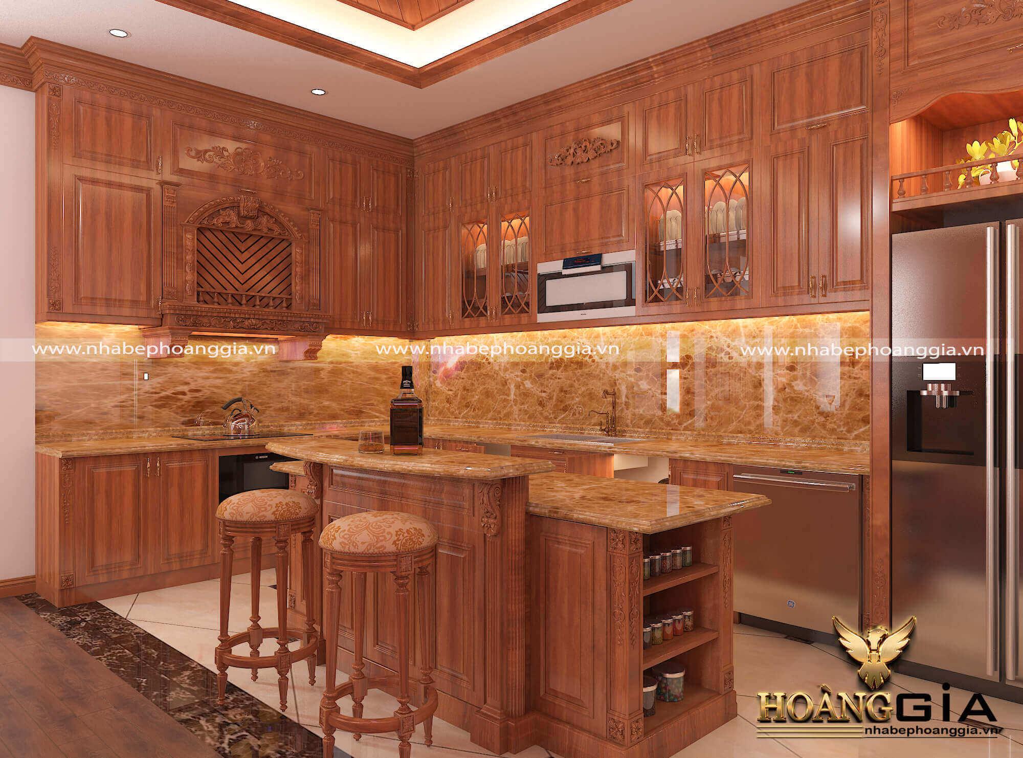bảng giá tủ bếp gỗ gõ đỏ