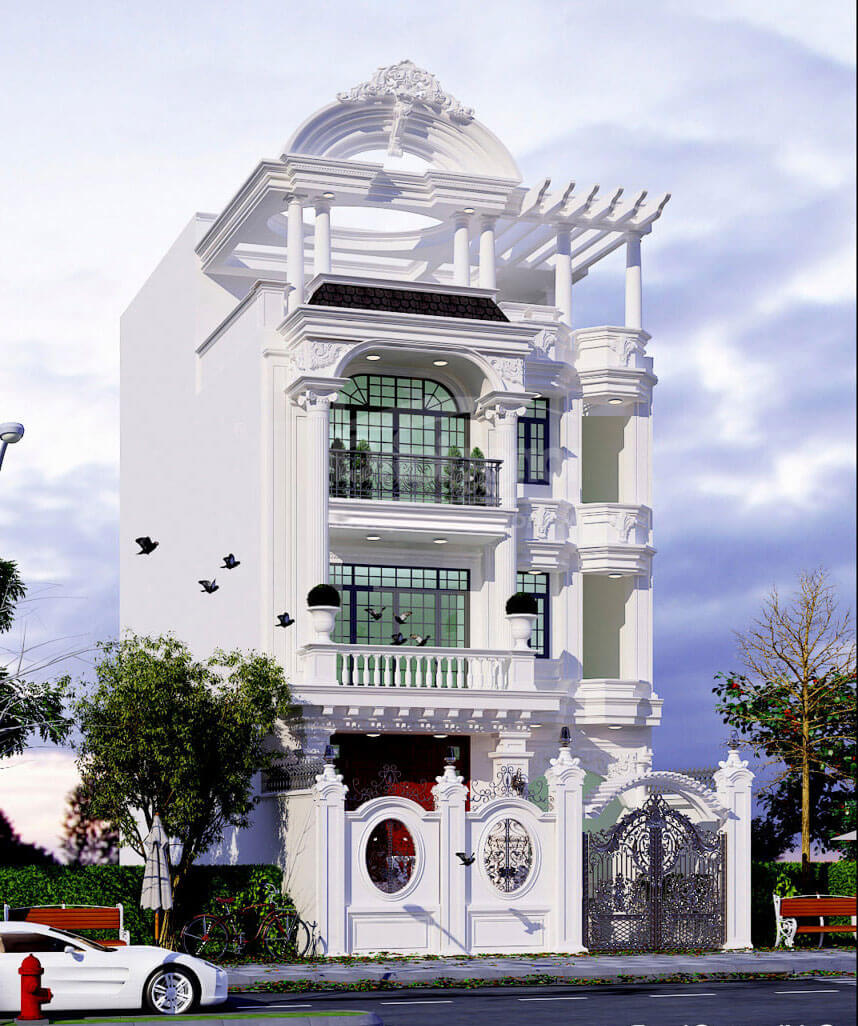 mẫu nhà phố tân cổ 04 tầng
