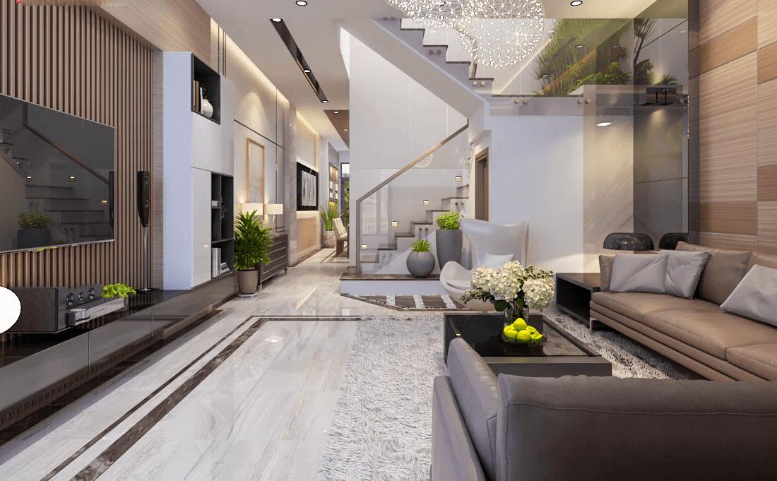mẫu phòng khách hiện đại cho nhà ống 2019
