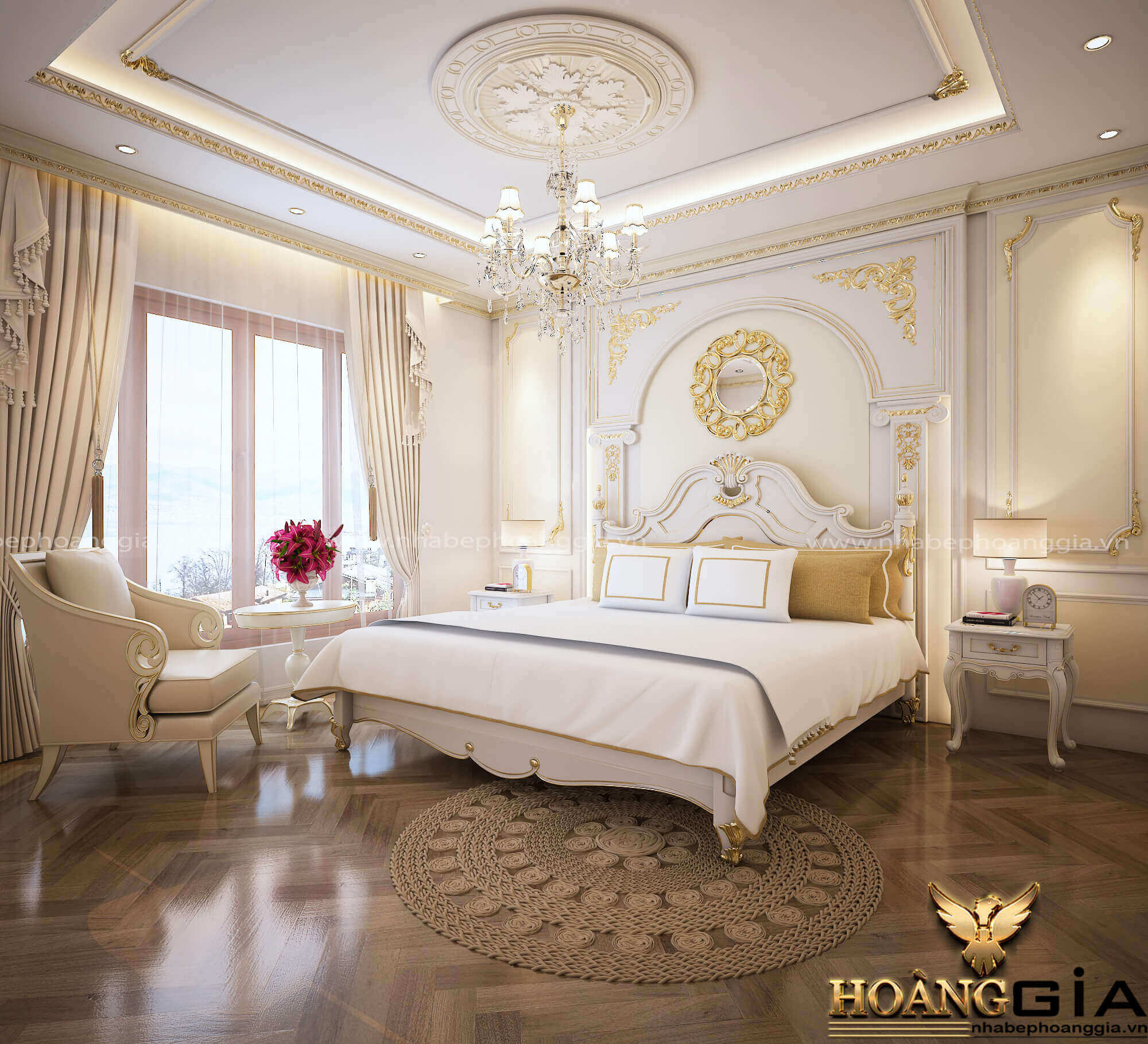 mẫu phòng ngủ master tân cổ điển