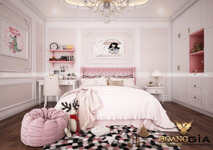 mẫu phòng ngủ tân cổ điển cho bé gái