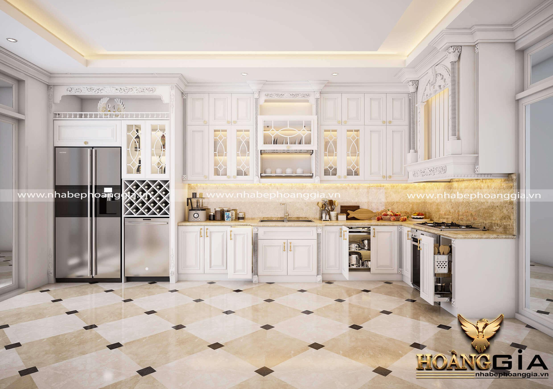 mẫu tủ bếp tân cổ điển đẹp 2019