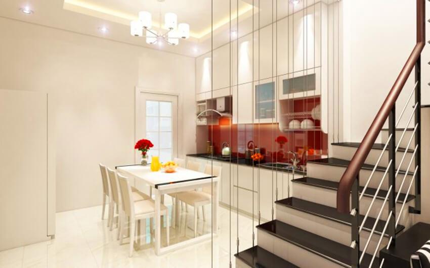 thiết kế bếp trên tầng lửng
