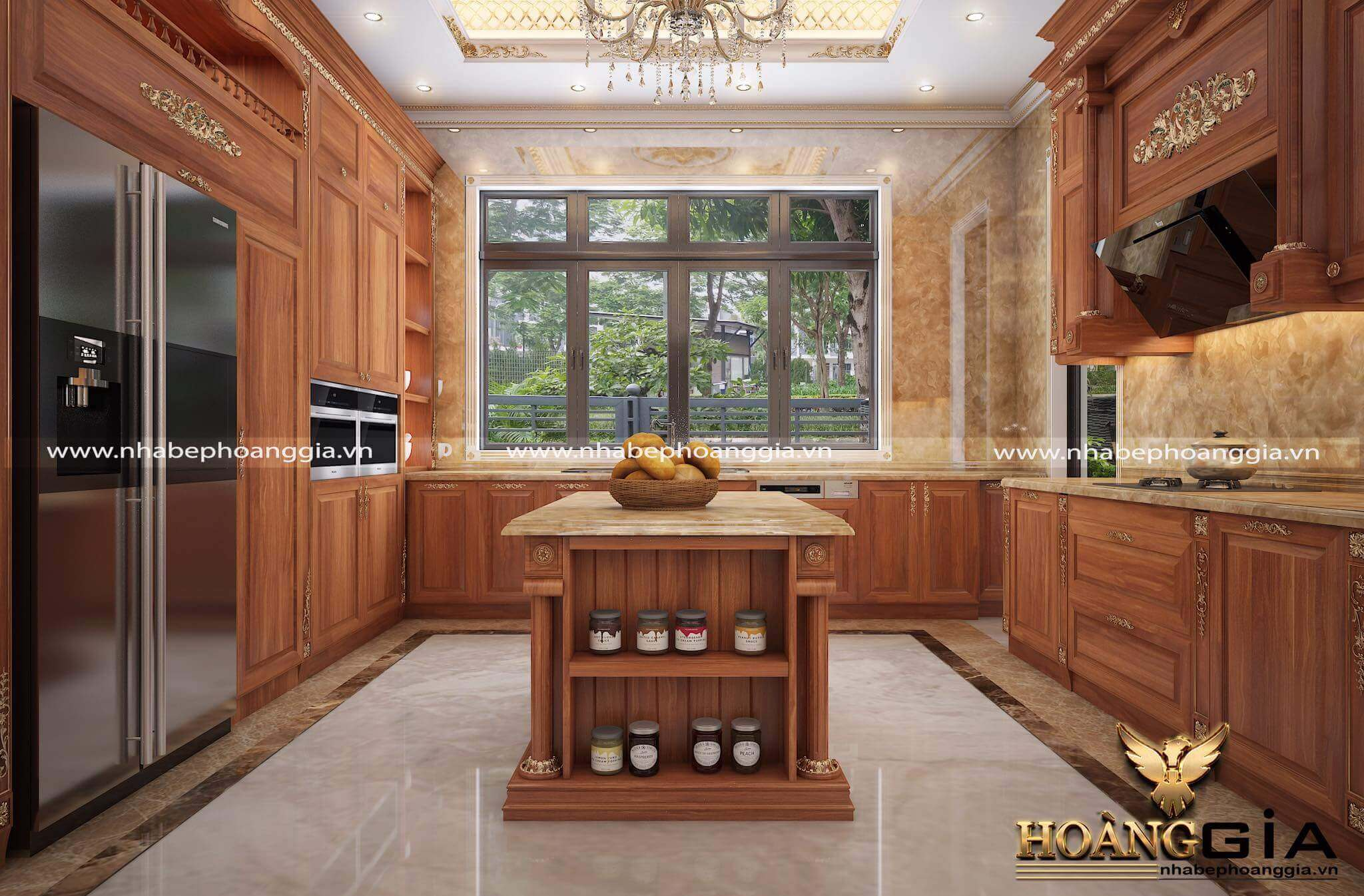 mẫu tủ bếp đẹp có cửa sổ