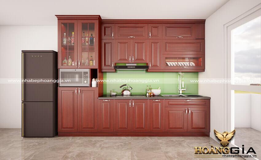 mẫu tủ bếp gỗ sồi Mỹ đẹp 2019