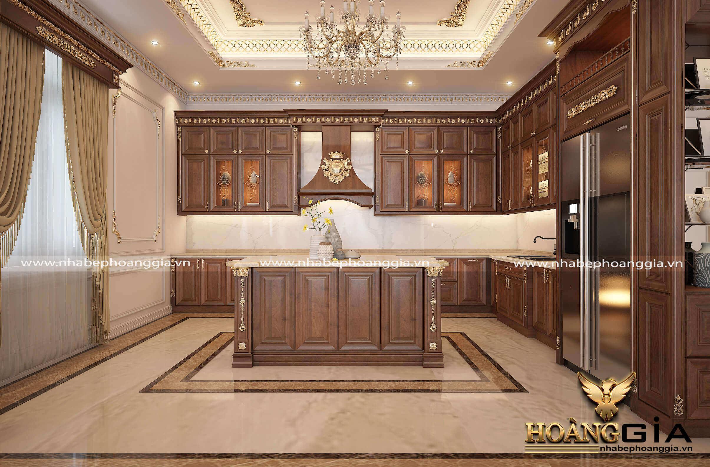 mẫu tủ bếp gỗ tân cổ điển 2019