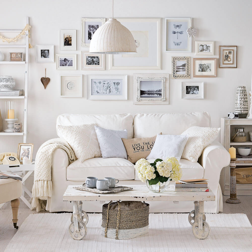 phòng khách đẹp phong cách Shabby Chic
