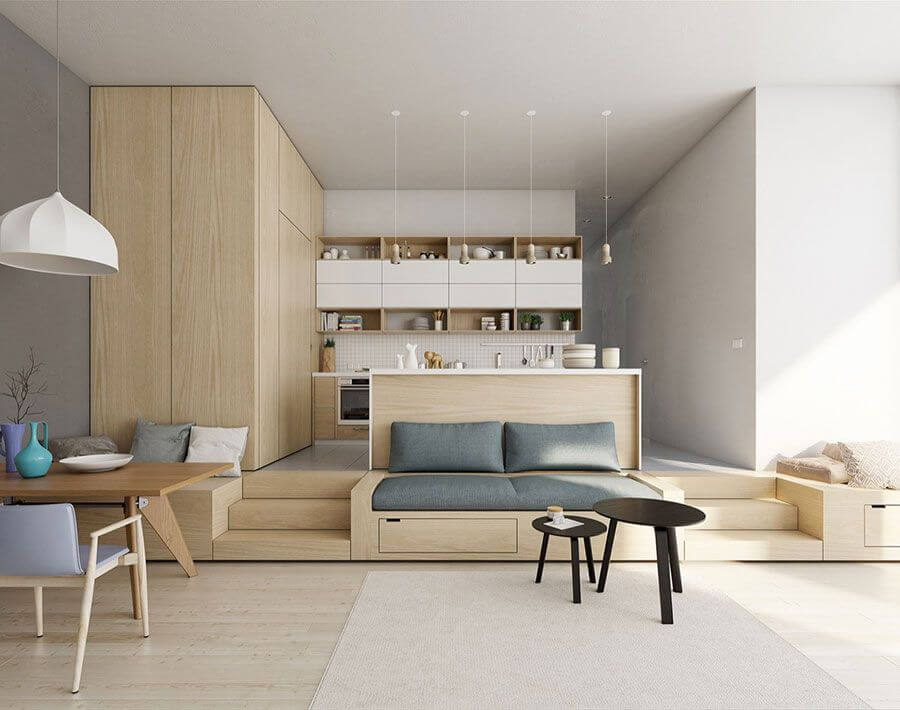 không gian mở trong thiết kế nội thất