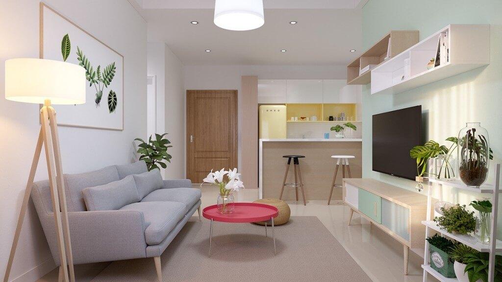 mẫu thiết kế nội thất chung cư 55m2