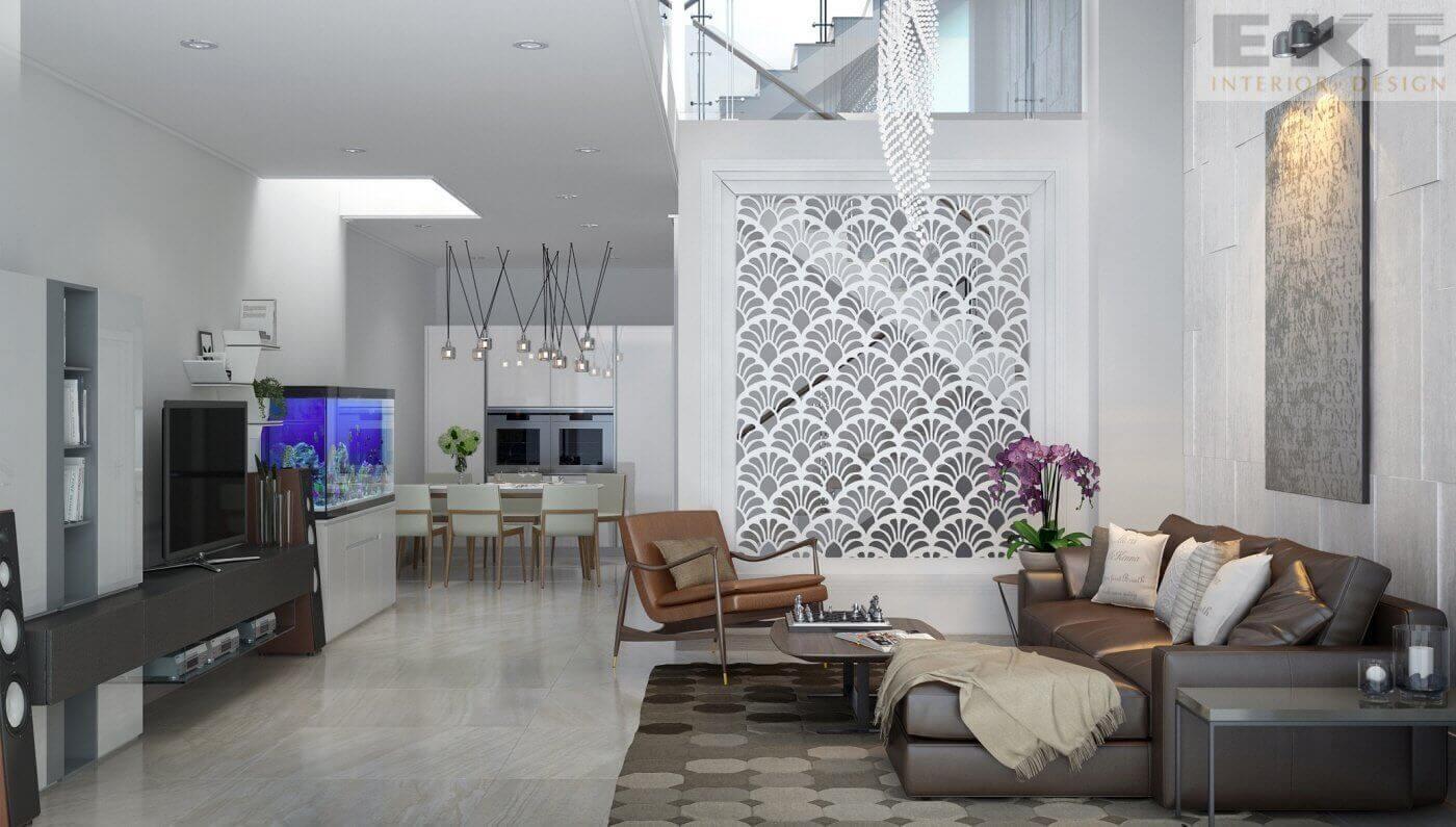 thiết kế phòng khách nhà ống 4m hiện đại