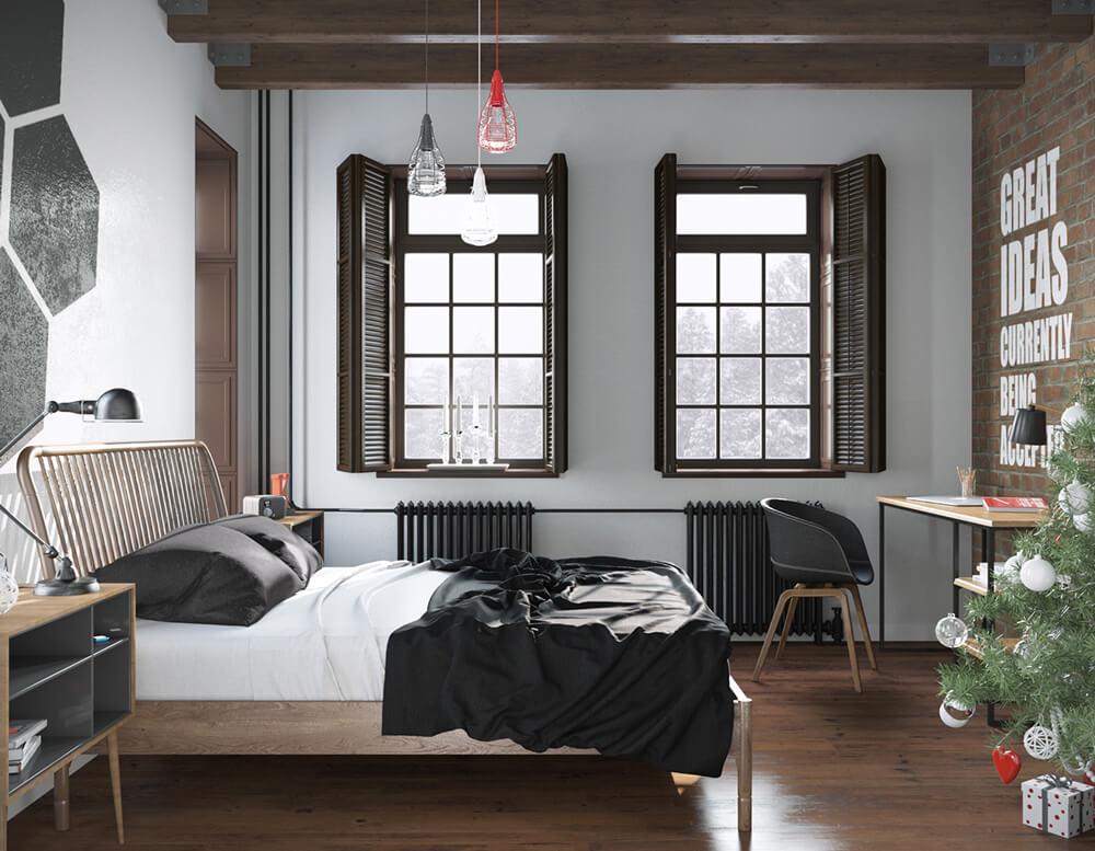 thiết kế phòng ngủ 13m2 với nội thất hiện đại