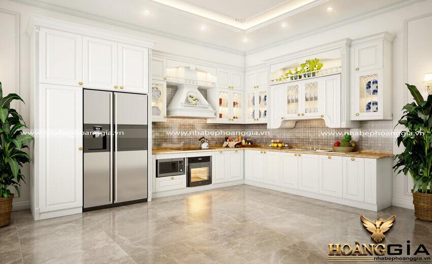 tủ bếp gỗ sồi sơn trắng đẹp
