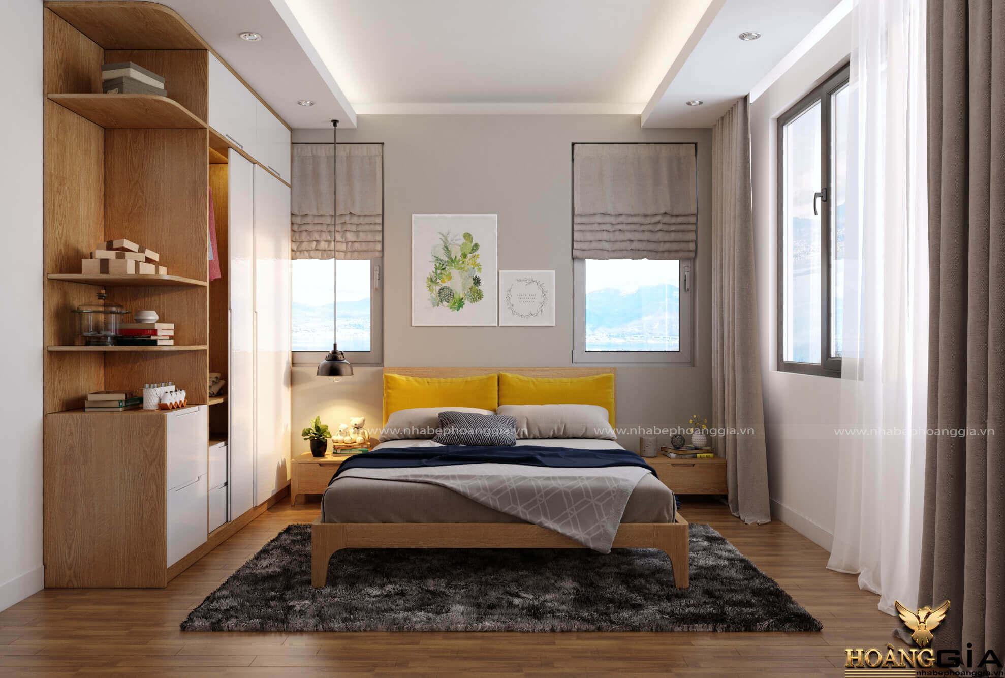 mẫu giường ngủ gỗ sồi đẹp 2019