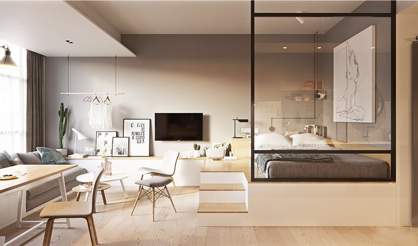 thiết kế phòng khách có giường ngủ