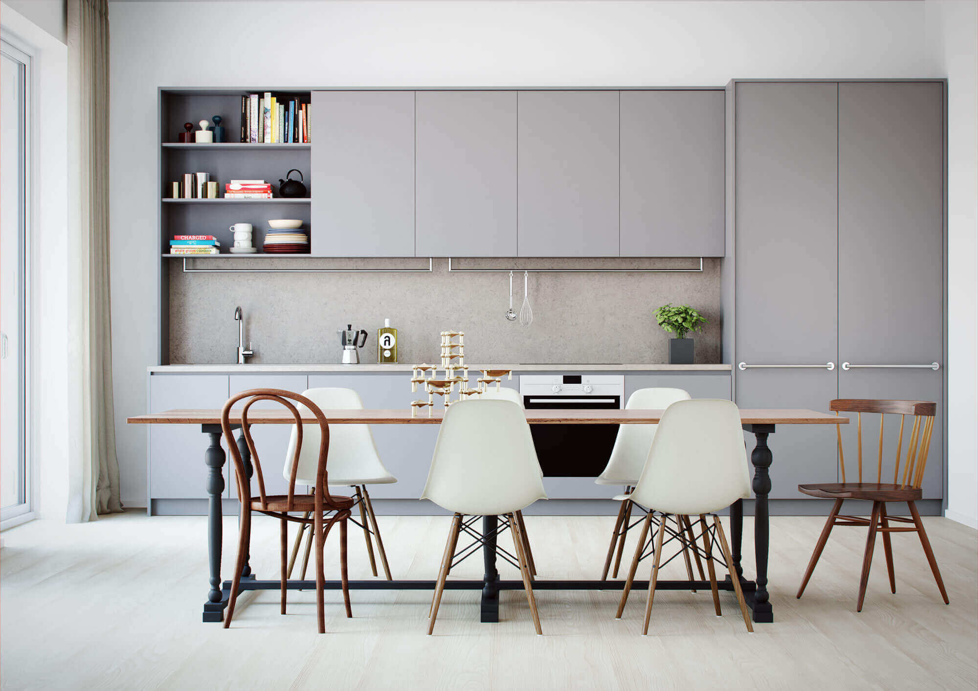 tủ bếp màu xám